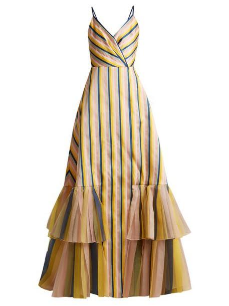 Carolina Herrera - V Neck Striped Gown - Womens - Multi