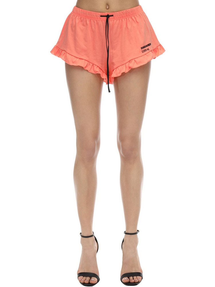 DSQUARED2 Printed Cotton Jersey Shorts W/ Ruffle in peach