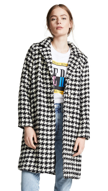 Moon River Plaid Tailored Coat in black