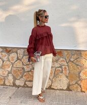 top,ruffle,blouse,wide-leg pants,cropped pants,flat sandals,bag
