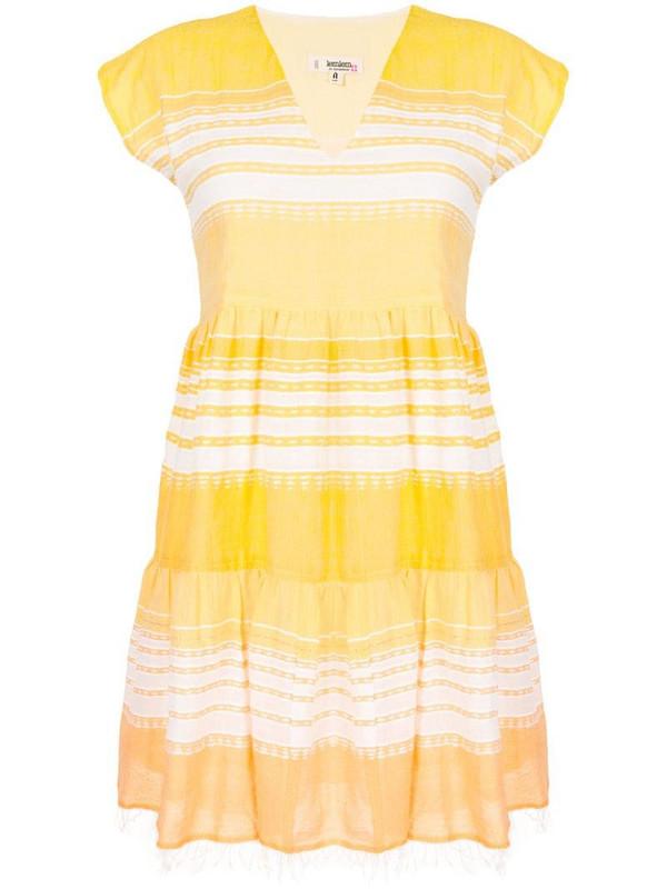 lemlem cotton stripe beach dress in yellow