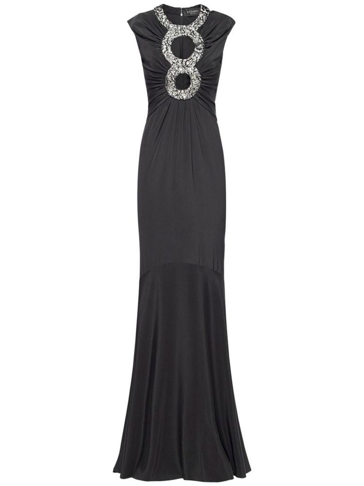 AZZARO Helen Viscose Crepe Long Dress in black