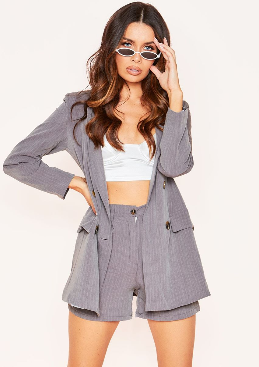 Chrissy Grey Pinstripe Button Blazer