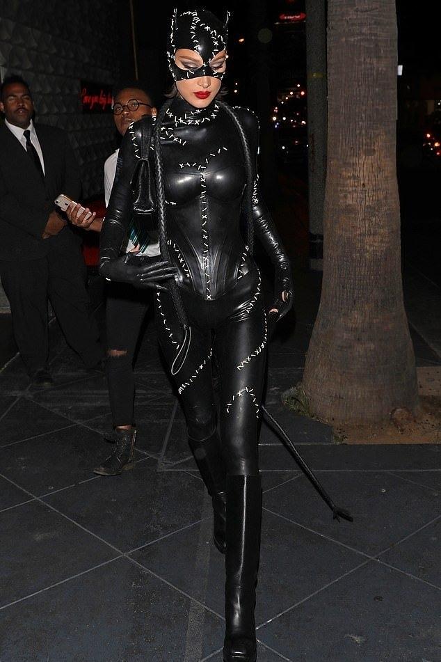 jumpsuit edgy bella hadid model off-duty halloween halloween costume black cat ears