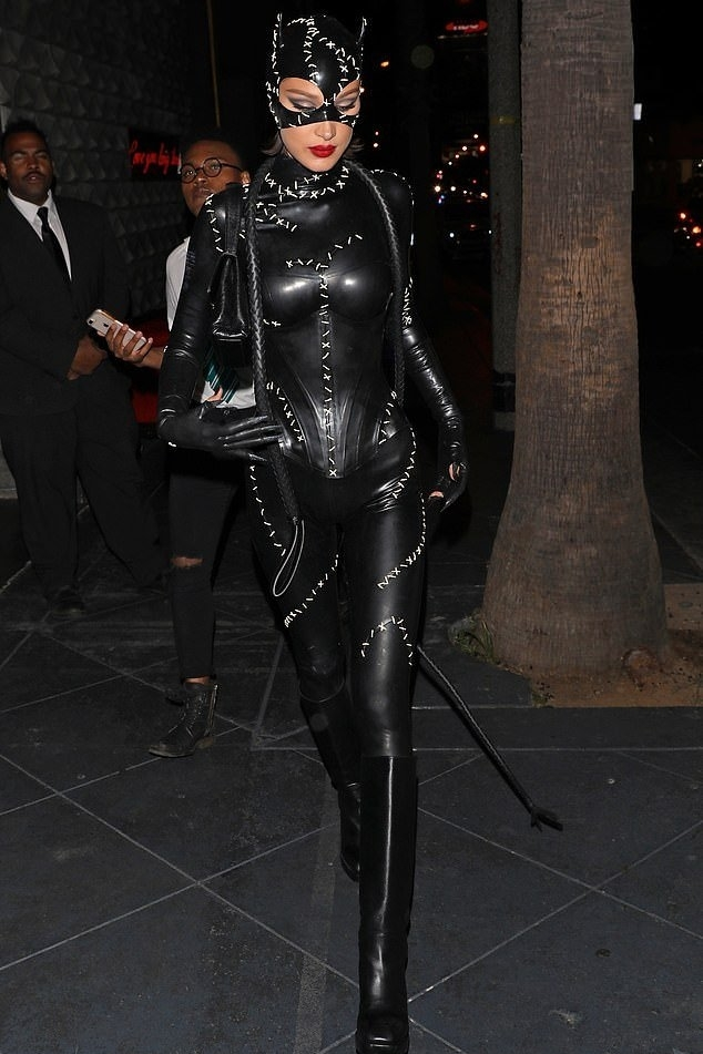 jumpsuit edgy sexy bella hadid model off-duty halloween halloween costume black cat ears