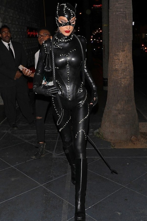 jumpsuit edgy bella hadid model off-duty halloween halloween costume black cat ears