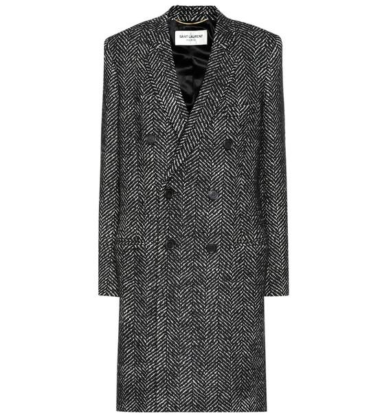 Saint Laurent Tweed wool coat in grey