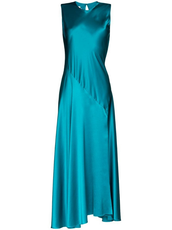 Marques'Almeida lace-up maxi dress in blue