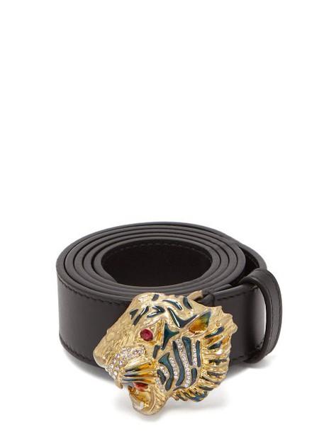 Gucci - Tiger Embellished Leather Waist Belt - Womens - Black