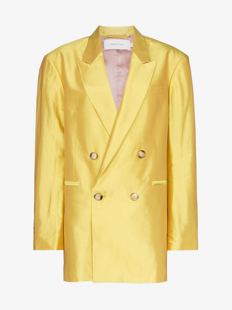 Marques'Almeida oversized double-breasted silk blazer in yellow