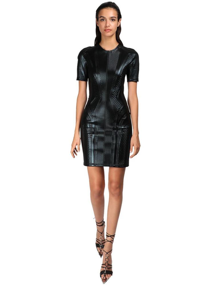 MUGLER Embossed Shiny Jersey Mini Dress in black