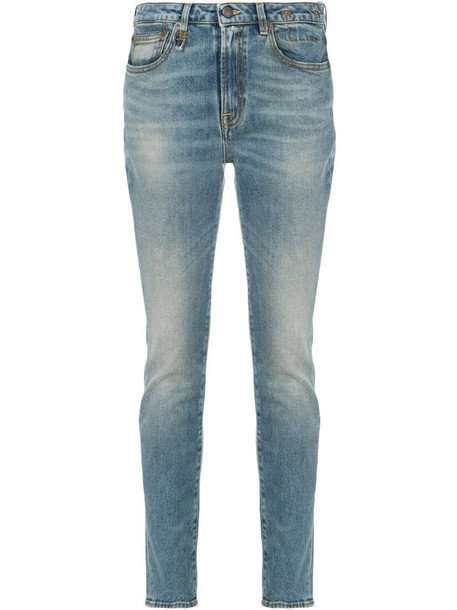 R13 low rise skinny jeans in blue