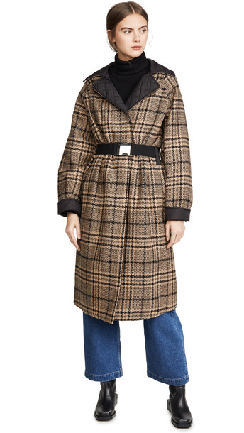 GANNI Tech/Wool Reversible Coat in black