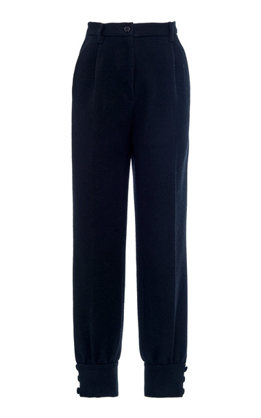 Miu Miu High-Waisted Cinched Ankle Pants Size: 36 in black