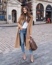 coat,camel coat,long coat,wool coat,h&m,sock boots,heel boots,cropped jeans,brown bag,denim shirt,white t-shirt