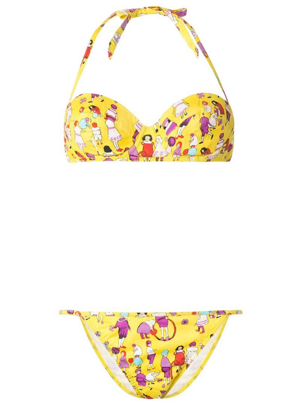Chanel Pre-Owned 2001 people print bikini set in yellow