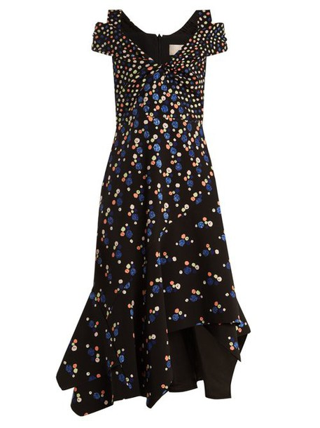 Peter Pilotto - Off The Shoulder Dot Print Stretch Cady Dress - Womens - Navy Print