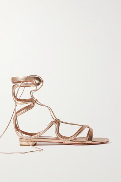 AQUAZZURA - Pompei Lace-up Metallic Leather Sandals - Gold