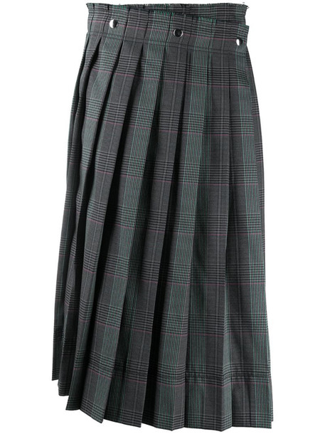 Acne Studios houndstooth pleated midi skirt in blue
