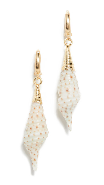 Maison Irem Big Conch Shell Earrings in gold