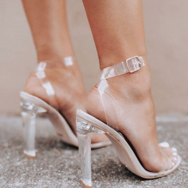 shoes clear heels silver nude
