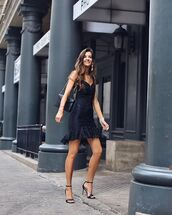 dress,black dress,lace dress,mini dress,black sandals,black bag