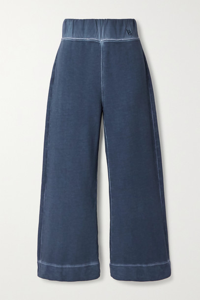 VERONICA BEARD - Hartley Cropped Cotton-terry Wide-leg Pants - Blue