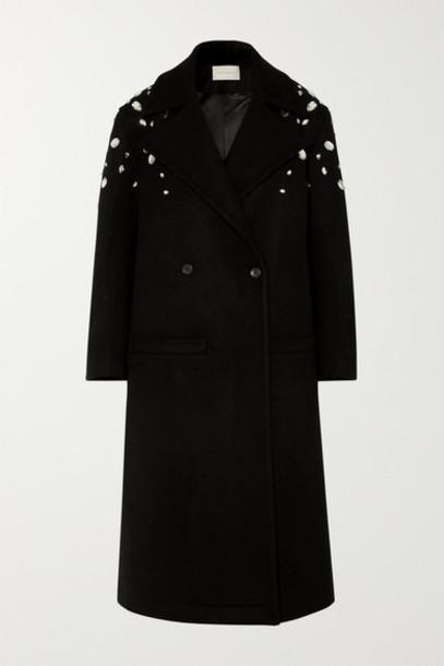 Christopher Kane - Crystal-embellished Double-breasted Wool-blend Coat - Black