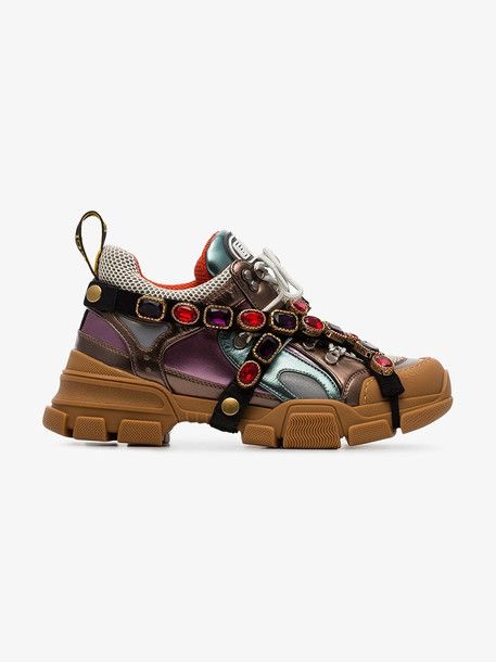 Gucci Flashtrek sneakers with removable crystals in brown