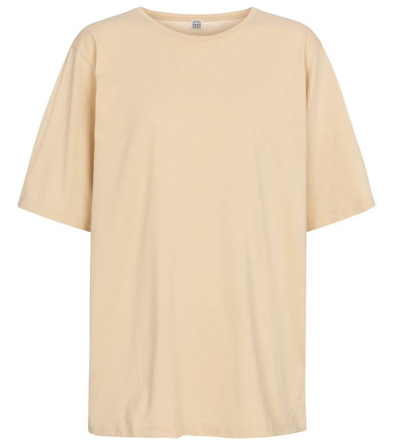 Toteme Oversized cotton jersey T-shirt in beige
