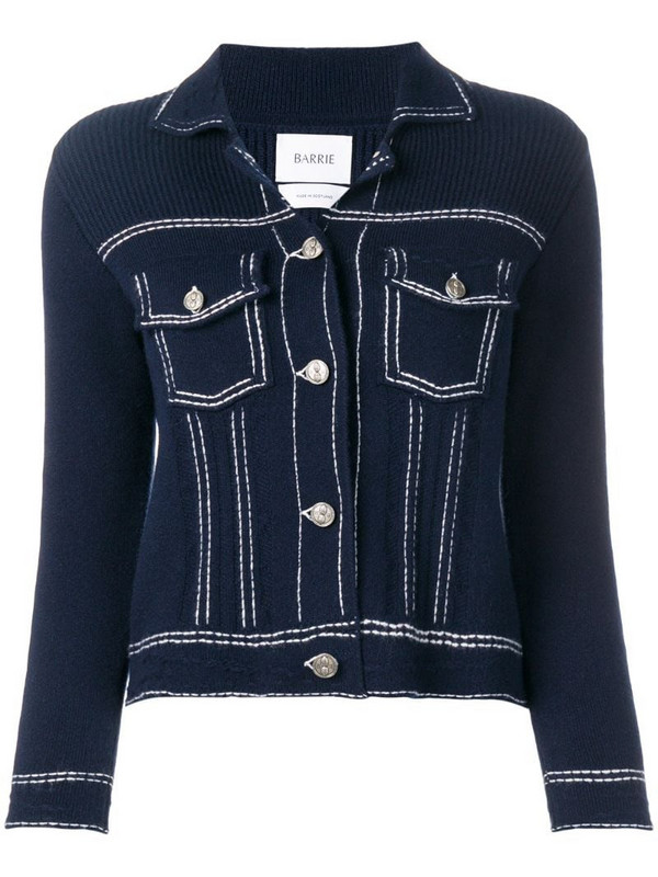 Barrie denim style knitted cardigan in blue