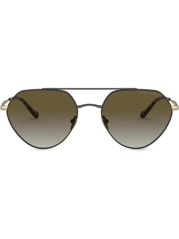 Giorgio Armani geometric aviator sunglasses in green