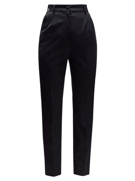 Dolce & Gabbana - High Rise Slim Leg Tailored Trousers - Womens - Black