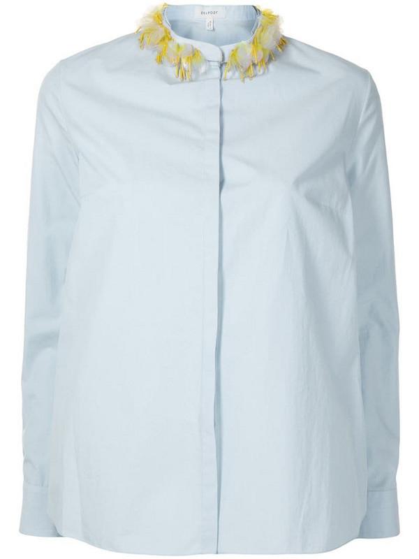 Delpozo embellished mandarin collar cotton shirt in blue