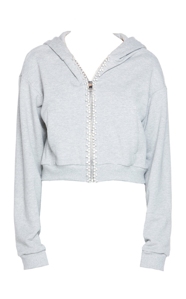 Area Crystal-Trimmed Zip-Up Cotton Hoodie in grey