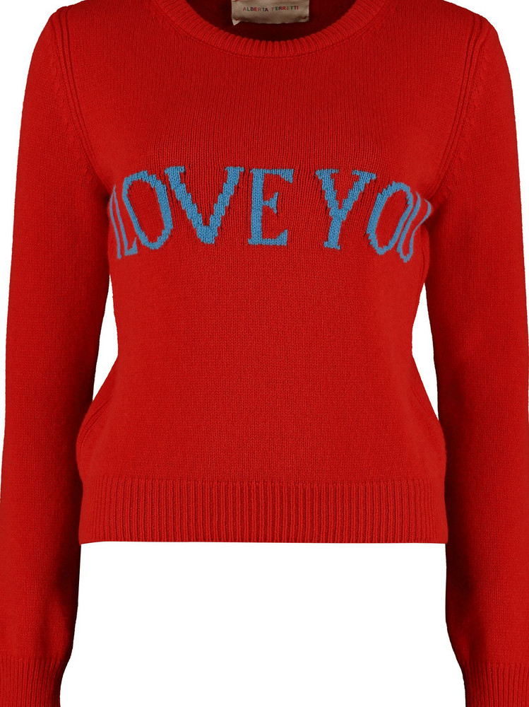 Alberta Ferretti 'i Love You' Intarsia Sweater in red