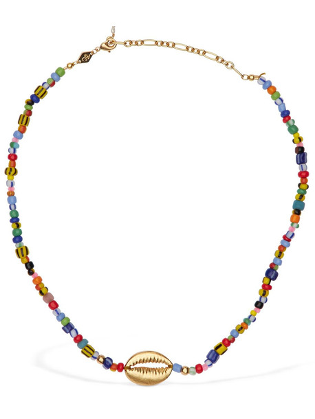 ANNI LU Alaia Cowry Necklace in gold / multi