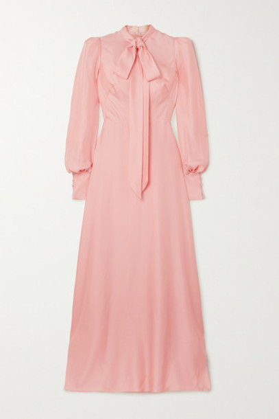 The Vampire's Wife - Pussy-bow Silk-twill Gown - Baby pink