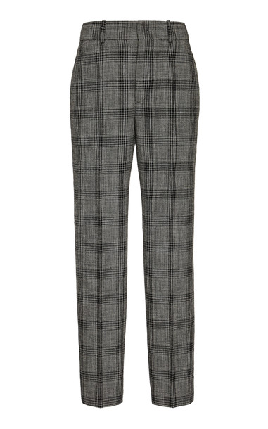 Isabel Marant Sonnel Checked Cotton Slim-Fit Trousers Size: 34 in grey
