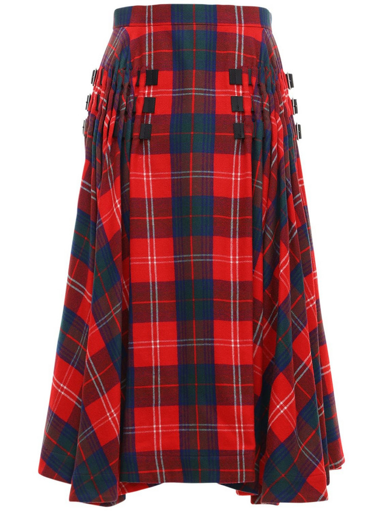 NOIR KEI NINOMIYA Wool Tartan Check Round Midi Skirt in blue / red