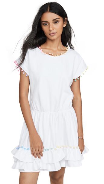 Peixoto Pom Pom Mini Dress in white