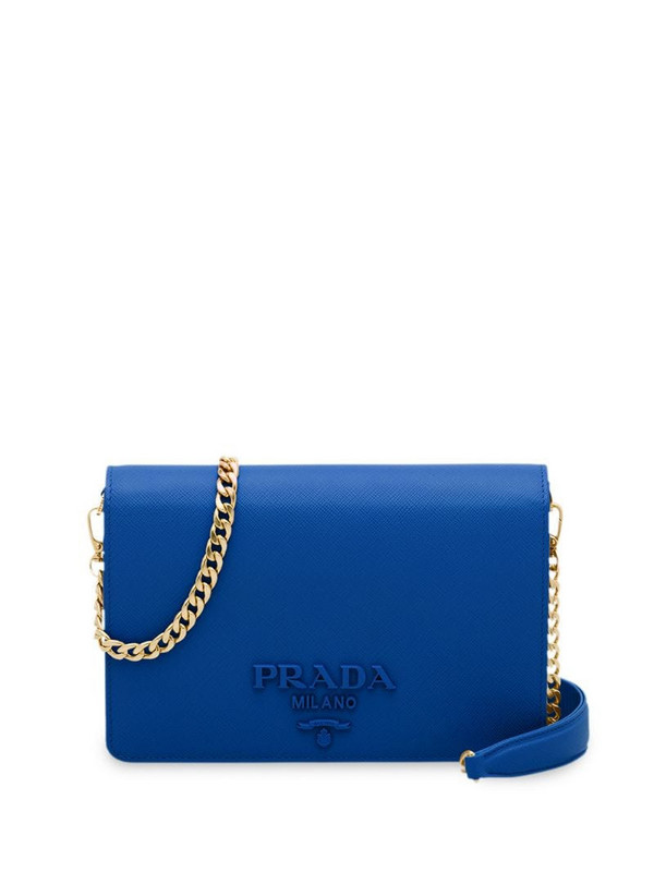Prada saffiano texture shoulder bag in blue
