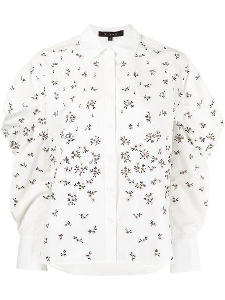 Biyan floral-embroidered shirt in white