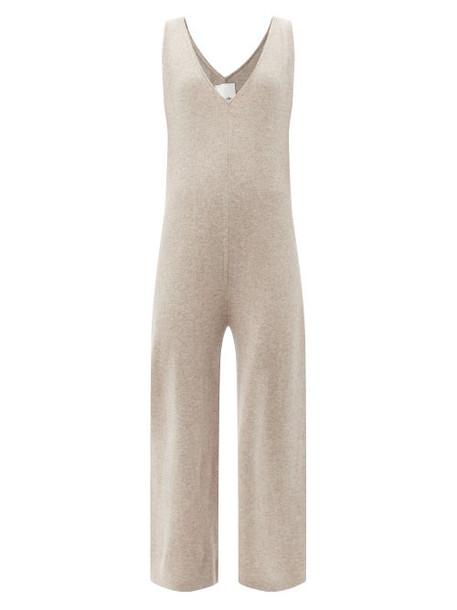 Allude - V-neck Wool-blend Jumpsuit - Womens - Beige