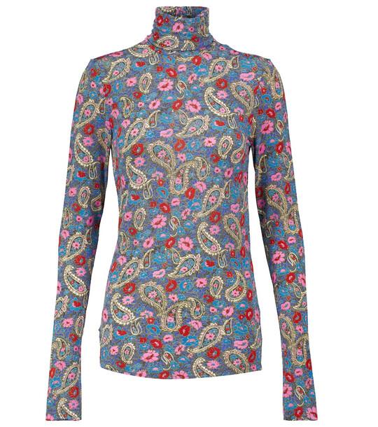 Isabel Marant Lizyela floral turtleneck top in blue