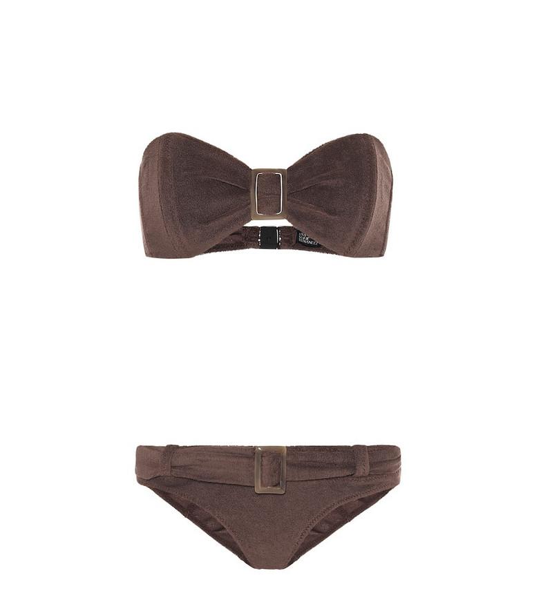 Lisa Marie Fernandez Buckle terrycloth bandeau bikini in brown