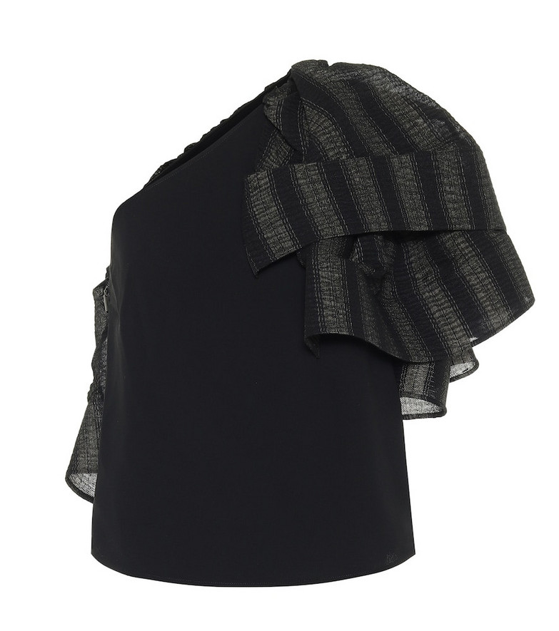 Maticevski Attest one-shoulder crêpe top in black