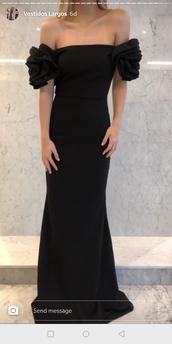 dress,black long dresses,off the shoulder,ruffle,long dress,gown,prom dress