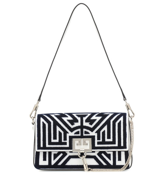 Givenchy Charm velvet and leather shoulder bag in white