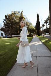 damsel in dior,blogger,dress,shoes,bag,midi dress,white dress,sandals,spring outfits